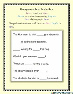 Ficha interactiva Homophones: there, they're, their