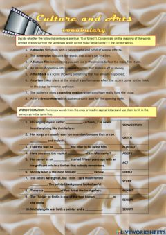 Interactive worksheet Culture and arts