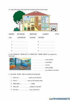 Interactive worksheet The House - There is -There are - Prepositions