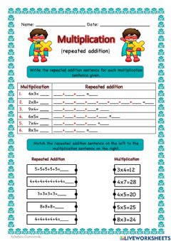 Interactive worksheet Multiplication (repeated addition)