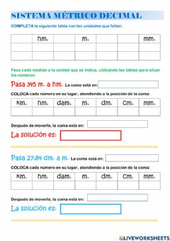 Interactive worksheet Unidades de longitud