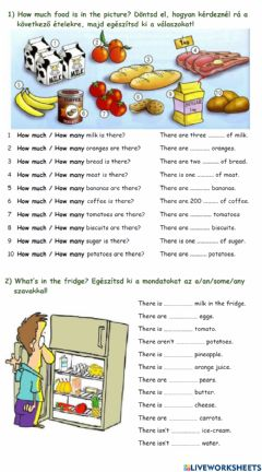 Interactive worksheet Food: how many?-how much?- some-any-a-an