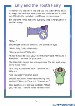 Interactive worksheet Lilly and the Tooth Fairy
