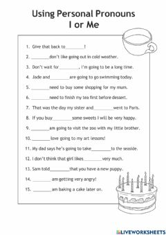 Interactive worksheet Using Pronouns I and me