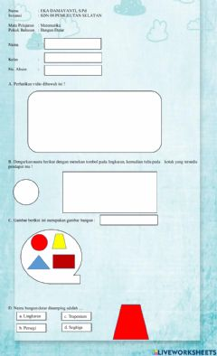 Interactive worksheet Latihan Bangun Datar