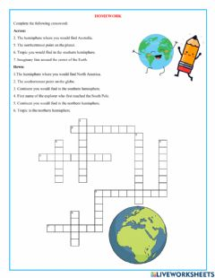 Interactive worksheet Crossword Earth's lines of division