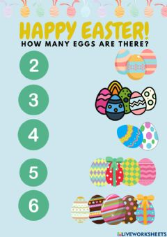 Interactive worksheet Easter and numbers