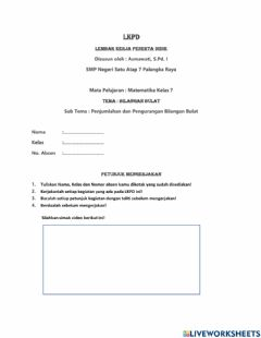 Interactive worksheet Bilangan Bulat
