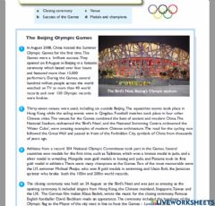 Interactive worksheet Match: Olympic games