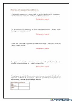 Interactive worksheet Problemes 1