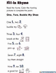 Interactive worksheet Fill in the rhyme