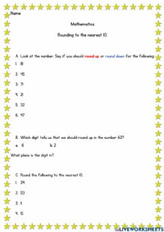Interactive worksheet Rounding to the nearest 10