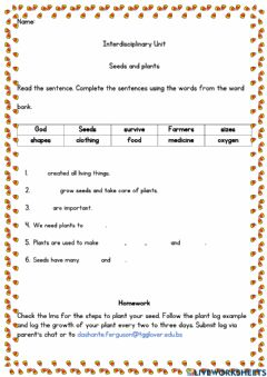 Interactive worksheet Seeds and plants