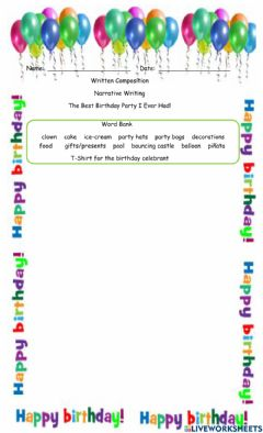 Interactive worksheet The Best Birthday Party I Ever Had