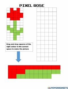 Interactive worksheet Pixel Rose
