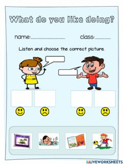 Interactive worksheet What do you like doing