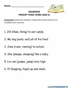 Interactive worksheet Present Tense Verbs with S