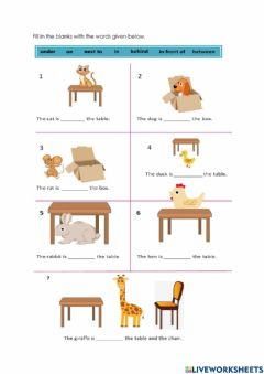 Interactive worksheet Prepositions of Direction