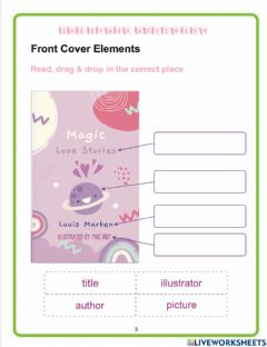 Interactive worksheet Parts of a book