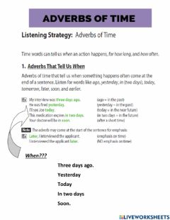Ficha interactiva LISTEN STRATEGY . ADVERBS OF TIME. THE WORLD OF WORK. BUILDING UNIT 10