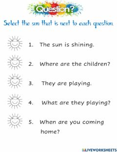 Interactive worksheet Asking sentences and question words