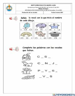 Interactive worksheet Quizz de vocales