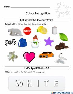 Interactive worksheet Colour Recognition- White