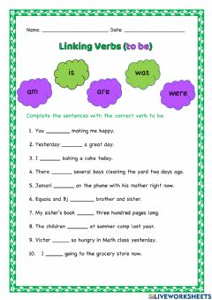 Interactive worksheet Linking Verbs (to be)