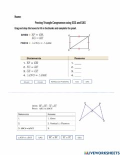 Interactive worksheet Triangle Congruence Proofs