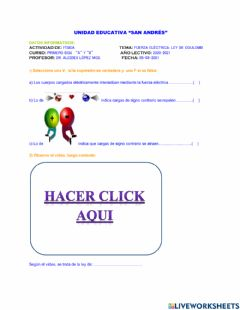 Interactive worksheet Fuerza electrica: ley de Coulomb