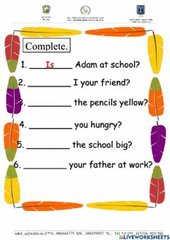 Interactive worksheet Verb to be questioning