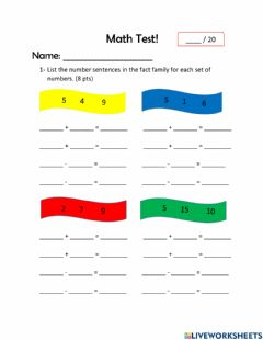 Interactive worksheet Math Test Fact Families