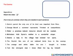 Interactive worksheet The Comma