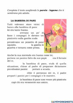 Interactive worksheet La bambina di pane