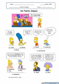 Interactive worksheet Die Familie Simpson
