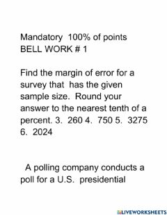 Interactive worksheet Mandatory bell work