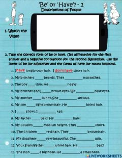 Interactive worksheet Descriptions of People: Be or Have