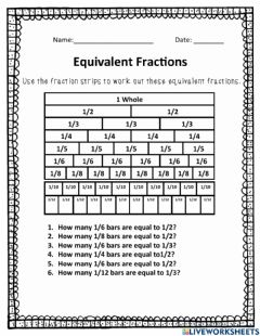 Interactive worksheet Fraction Strips