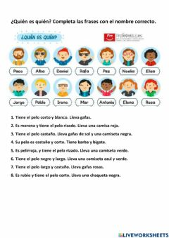 Interactive worksheet La descripción física