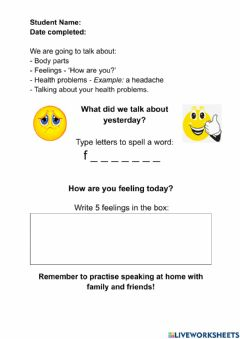 Interactive worksheet Talking about your health and feelings