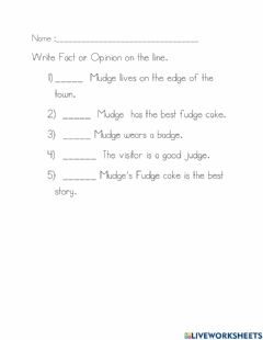 Interactive worksheet Mudge's Fudge Cake Listening