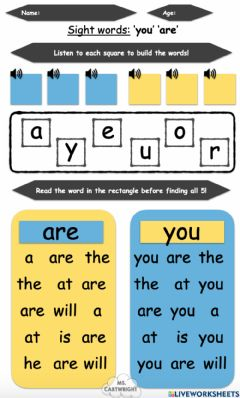 Interactive worksheet Sight words -you- and -are-