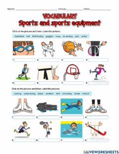 Interactive worksheet Sports and sports equipment