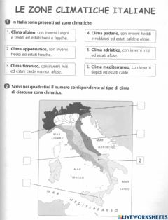 Interactive worksheet Le fasce climatiche in Italia