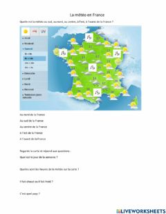 Interactive worksheet La météo en France