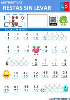 Interactive worksheet Resta sin llevar