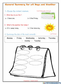 Interactive worksheet General Summary on days and weather