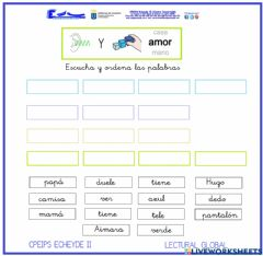 Interactive worksheet Lectura Global. Escuchar frases 3