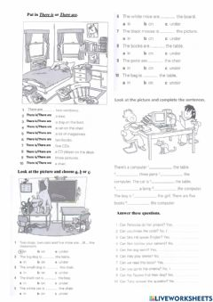 Interactive worksheet There is-there are and prepositions