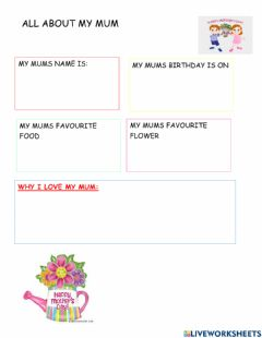 Interactive worksheet Mothers day